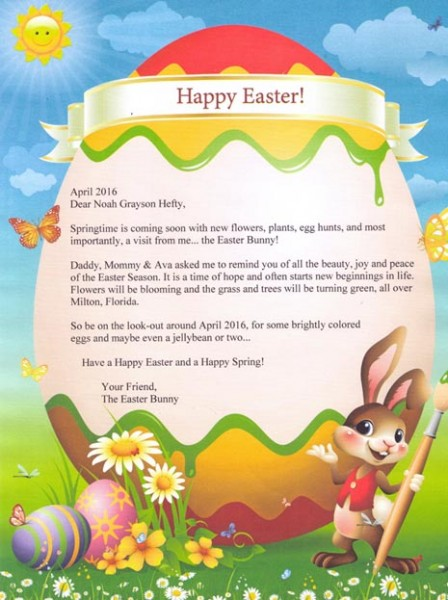 Letter from the easter bunny for Letter to easter bunny template